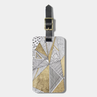 Black and white faux gold geometric patterns luggage tag