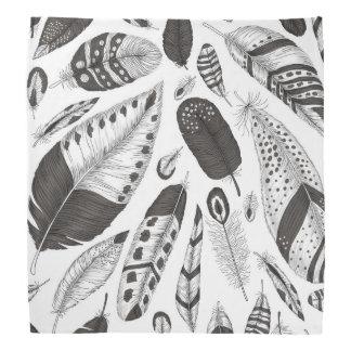 Black and white feathers pattern bandana