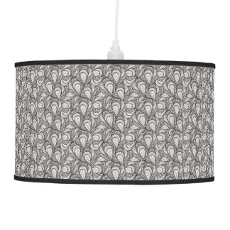 black and white feathers pattern hanging lamp
