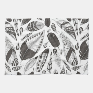 Black and white feathers pattern kitchen towel