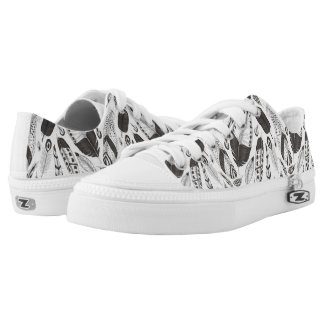 Black and white feathers pattern Low-Top sneakers
