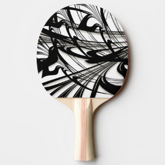 Black and White Fern Glen Ping Pong Paddle