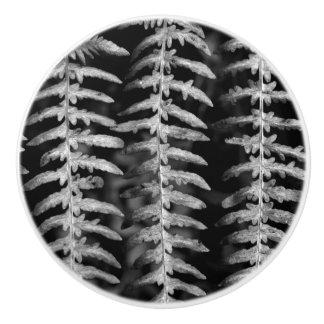 Black and White Fern Leaves Dresser Knob