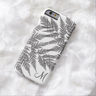 Black and White Fern Pattern Monogram Barely There iPhone 6 Case