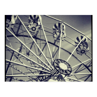 Black and white ferris wheel postcard