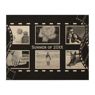 Black and White Film Reel Wood Canvases
