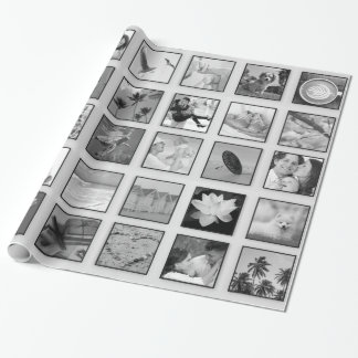 Black and White Filtered Photo Collage Wrapping Paper