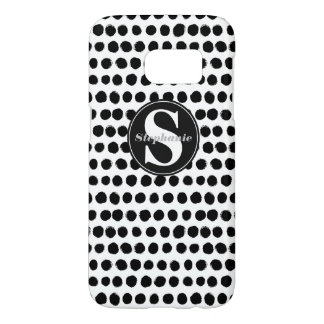 Black and White finger-painted Polka Dots Samsung Galaxy S7 Case