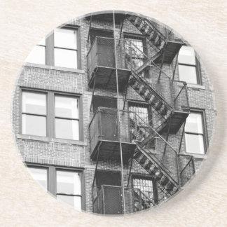Black and White Fire Escape Coaster