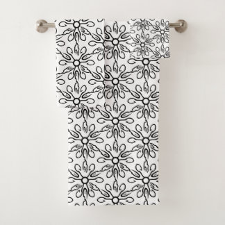 Black and White Fish and Hook Pattern Bath Towel Set