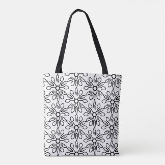 Black and White Fish and Hook Pattern Tote Bag