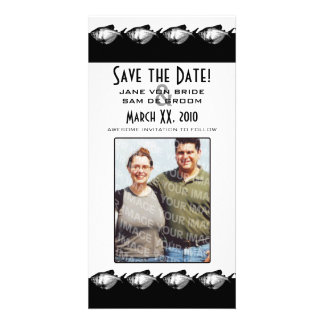 Black and White Fish Save The Date Picture Card