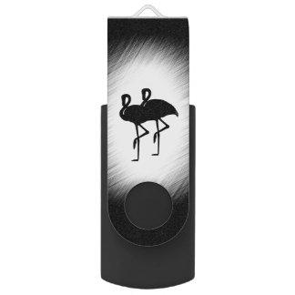 Black and White Flamingo USB Flash Drive