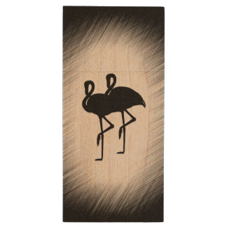 Black and White Flamingo Wood USB Flash Drive