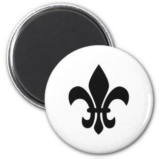Black and White Fleur de Lis 2 Inch Round Magnet
