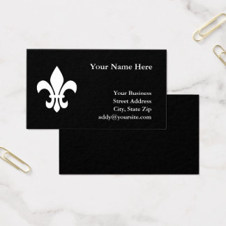 Black and White Fleur de Lis Business Card