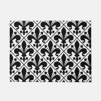 Black and White Fleur de Lis French Classic Doormat