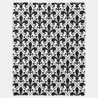 Black and White Fleur de Lis French Classic Fleece Blanket