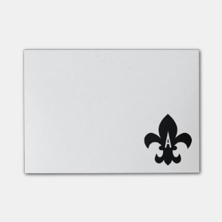 Black and White Fleur de Lis Monogram Post-it Notes