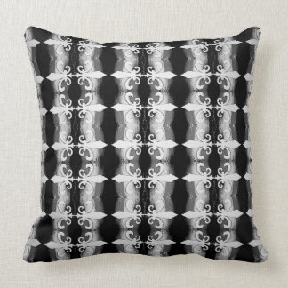 Black and White Fleur de Lis Motif Pattern Pillow
