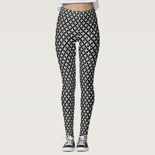 Black and White Fleur de Lis Parisian Pattern Leggings