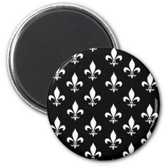 Black and White Fleur de Lis Pattern 2 Inch Round Magnet