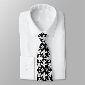 Black and White Fleur de Lis Pattern Tie