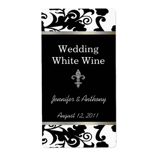 Black and White Fleur Di Lys Wedding Wine Labels