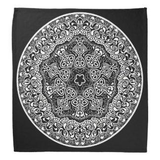 Black and white flooral design do-rag