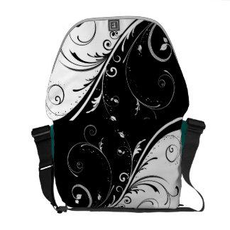 Black and White Floral Bag Commuter Bag