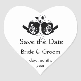 Black and White Floral Bird and Heart Wedding Heart Sticker