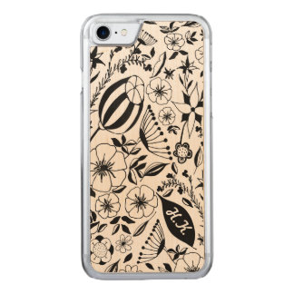 Black and white floral bouquet custom carved iPhone 8/7 case
