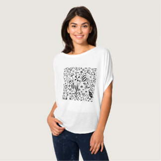 Black and white floral bouquet custom initials T-Shirt