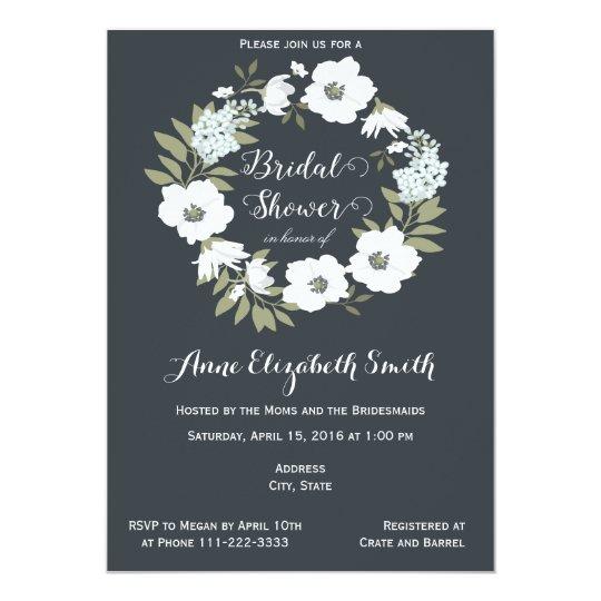 Black and White Floral Bridal Shower Invitation