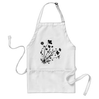Black And White Floral Burst Apron