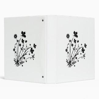 Black And White Floral Burst Vinyl Binder