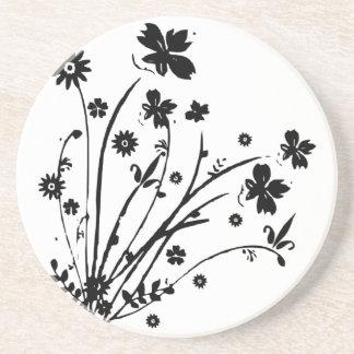Black And White Floral Burst Drink Coaster