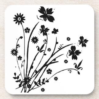 Black And White Floral Burst Beverage Coaster