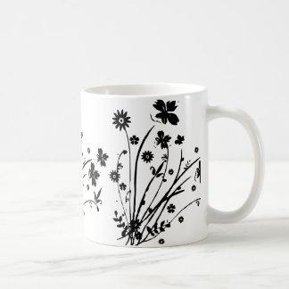 Black And White Floral Burst Mugs