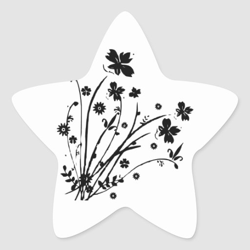 Black And White Floral Burst Stickers