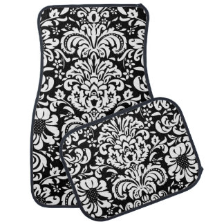 Black and White Floral Damask Car Mat