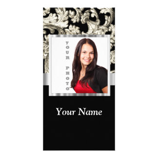 Black and white floral damask template custom photo card
