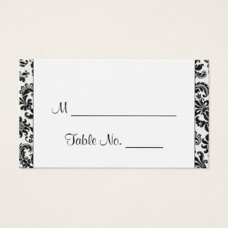 Black and White Floral Damask Wedding Place Cards