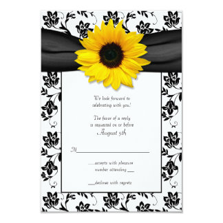 Black and White Floral Damask Wedding Reply Card