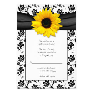 Black and White Floral Damask Wedding Reply Card Personalized Invites