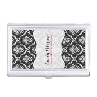 Black And White Floral Damasks Business Card Holder