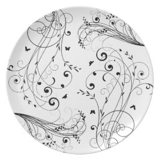 Black and white floral design party plate