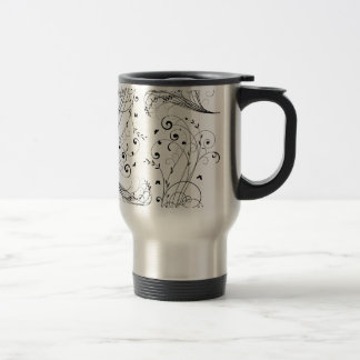 Black and white floral design travel mug