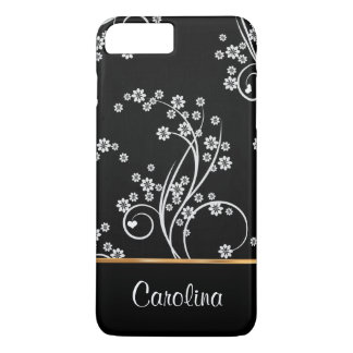 Black and white floral, faux gold foil iPhone 8 plus/7 plus case