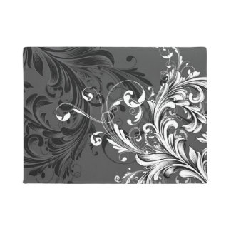 Black and White Floral Flourish Doormat